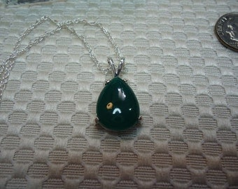 Pear Cabochon Green Botswana Agate Necklace in Sterling Silver   #1948
