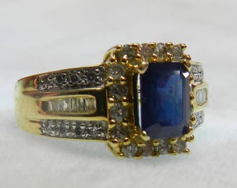 Vintage Engaement Ring Sapphire Ring 14K Blue Sapphire Ring Genuine Diamond Halo Ring Natural Sapphire White and Yellow Gold 14K September