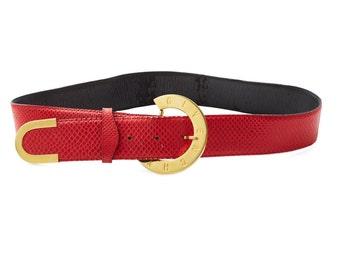 vintage 70s/80s GIVENCHY lipstick red snakeskin gold logo buckle belt