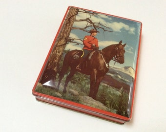 Vintage Royal Canadian Mounted Police Tin, RCMP Souvenir Tin Box, Great Graphics, 1950s