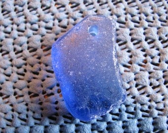 Drilled cobalt blue sea glass  beach glass genuine cobalt blue beach glass