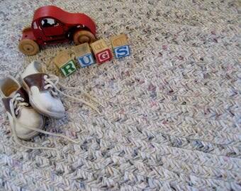 "Neutral Braided Rag Rug - Vintage Braided Cotton Oval Rug - Machine Washable Reversible Cotton Rug - 46"" X  24.5"" - Farmhouse Braided Rug"