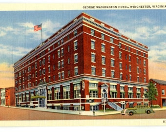 Winchester VA Vintage Postcard of George Washington Hotel - Virginia Souvenir