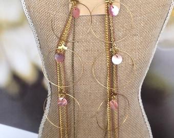 Long chain earrings, Hoop Chain Earrings, pink and gold earrings, Shell Earrings, gold chain earrings, dangle earrings, multi chain earrings