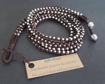 3 Wrap  hippie  Silver Bead  Bracelet/Necklace