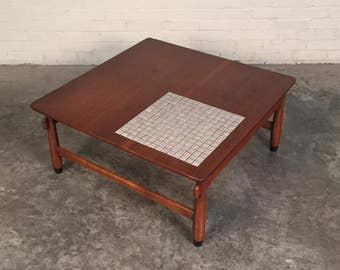 Lane Monte Carlo Mid-Century Modern Walnut Coffee / Corner Table With Tile Inset - SHIPPING NOT INCLUDED