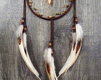 Dream Catcher Chocolate Brown Deerskin  with Rooster Feathers