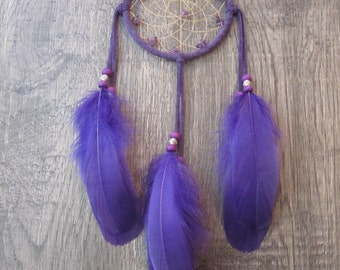 Purple Suede Dream Catcher with Goose Feathers
