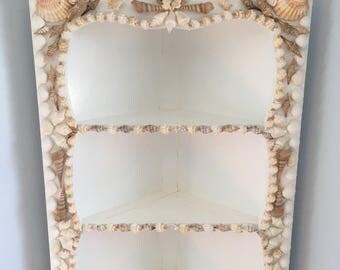 SHELLED CORNER CABINET Beach Costal Decor Cottage Chic Handmade at B Street Vintage See Details Below