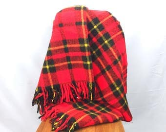 Vintage Red Plaid Blanket - Faribo