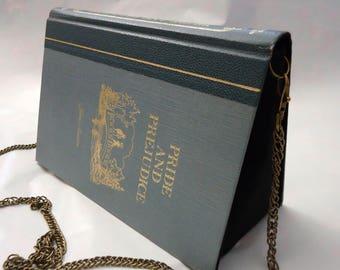 Pride and Prejudice Jane Austen Book Purse Blue Bag Clutch - Upcycled Book