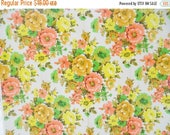 ON SALE 1960's, Vintage, Fabric, Geraniums, Floral, M. Lowenstein and Sons Regency Screen Print, Orange, Gold, Yellow, Green, Cotton, Pillow