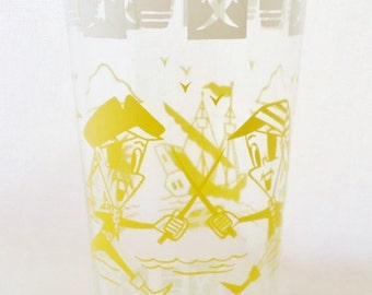 ON SALE 1950's, Vintage, Hazel Atlas, Pirate, Swashbuckler, Character, Bar Glass, Glassware, Yellow, White