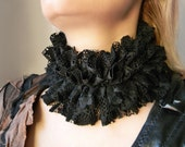 Black lace high neck collar Sexy collar Gothic lace collar GOTH Ruffle collar Edwardian collar Queen of Spades neck ruff Edwardian costume