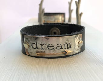 DREAM, arrow, hand stamped leather cuff bracelet, mixed metal, one-of-a-kind