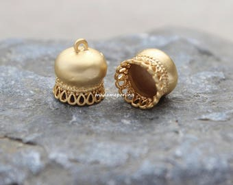 2  caps with bail loop hoop bead tassel connector end cap 10mm matte gold plated brass mdla302