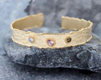 CZ cuff bracelet hammered matte gold adjustable multicolor multi gemstones matt bangle you choose