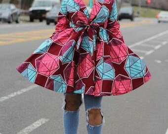 AWONKE - Geometric African Print Dress/Jacket -Ready to ship