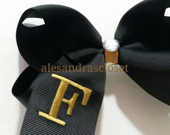 Black And Gold Large Letter F Embroidered Initial Hair Bows New Orleans Saints Girls Toddler Teen Team Hair Bow Sports Everyday Hair Bow