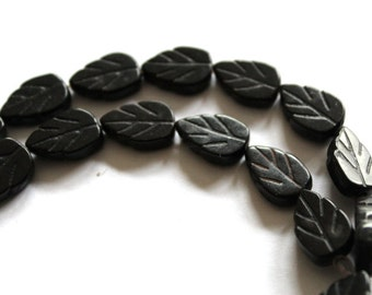 Full Strand of Black Magnesite Beads