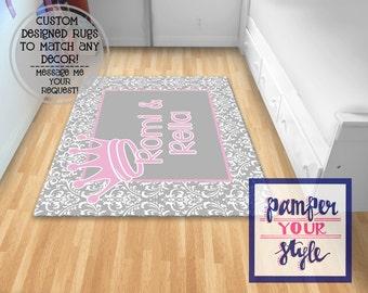 Gray and Pink Princess Nursery Rug - Nursery Rug Personalized Girls Bedding -  Damask and Princess Nursery Decor