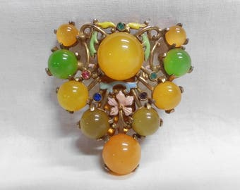 Enameled Bakelite Dress Clip Huge Cabochons Yellow Green & Peach Juice Rhinestones Gold Tone Setting Open Back Shield Shape Vintage