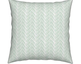 Herringbone Mint Pillow Cover