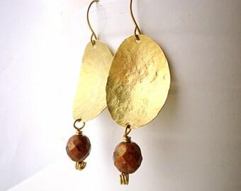 Hammered Earrings, Drop earrings, long earrings, boho earrings, Artisan earrings, coffee brown earring, ethnic earrings, geometric earring