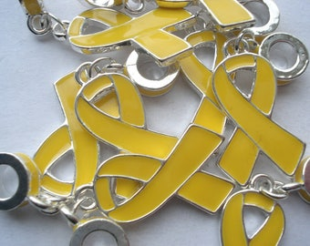 40mm Zinc Based Alloy Large Hole Charms, Silver Tone Yellow Enamel Dangle Beads, Pack of 3 Yellow Ribbon Charms C07