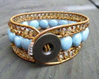 Leather wrap cuff bracelet.  Iridescent sky blue and golden haze with tan leather.   Petite wrist bracelet.