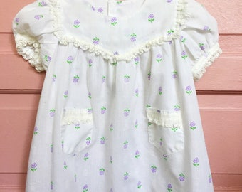 Vintage white toddler summer dress - purple floral with lace baby girl vintage size 18M