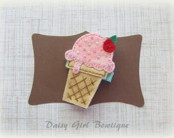 Felt Ice Cream Cone Hair Clip - Ice Cream Hair Clippie - Summer Hair Barrette - Felt Hair Clips - Pink Ice Cream Cone Barrette.