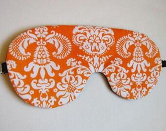 Damask Sleep Mask, Adjustable Strap Sleeping Mask,  Orange Damask Eye Mask