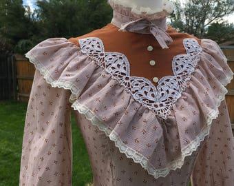 1970's Gunne Sax Western Prairie Dress (Small)
