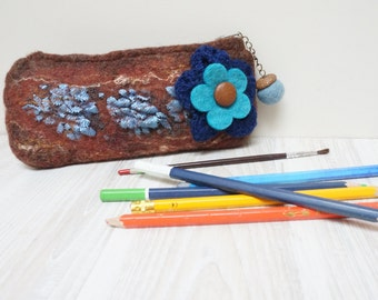 Brown Felted pencil case holder clutch purse pouch envelope with Nuno eyeglass lace flower blue brown Wool handmade cosmetic bag handbag