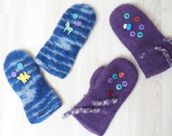 Children Mittens hand knitting knitted boiled felt kid purple blue handmade ready to ship boy girl 5 6 7 8 year button winter gloves felting