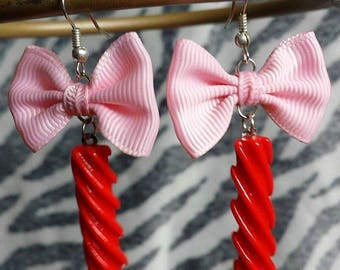 Red Licorice Candy Rope Earrings