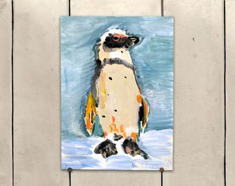 """Penguin Original Art 9x11.5"""" One of a Kind 100% of the profits go directly to artists with disabilities Item 98 Rita J."""