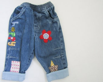 Embellished Baby jeans - cute baby clothes- unique baby clothes