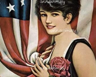 Restored Art Print, Memorial Day or Fourth of July Art, Beautiful Woman #800