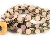 Rose Quartz Macrame Bracelet/Necklace with Flower Jade Button