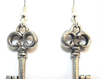 Pewter  Skeleton Key  Charms on Sterling Silver Ear Wire Dangle Earrings - 0163