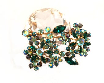 Brilliant 1950s Emerald Green Peridot AB Crystal Floral Spray Brooch, Made in Austria, Three Dimensional Layered
