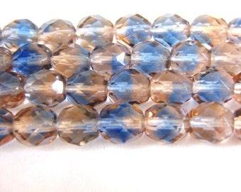 8mm Faceted Round Sapphire Rose Czech Beads Glass Blue Pink 20pcs