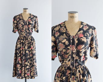 1970s Dress - Vintage 70s Black Floral Dress - Twilight Garden Dress