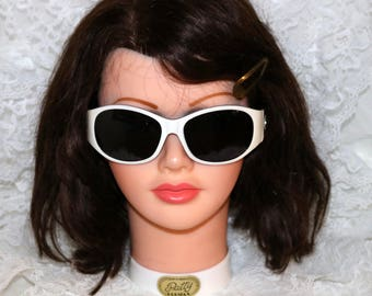 Vintage Cosmo Girl Sunglasses - CG25L7717 - White Exterior Frames - Rose Interior Frames - Accented with Circle Holes