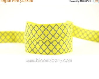 Closed Out Sale 40% OFF 40 Percent off  5/8 PRINTED Fold Over Elastic - Yellow/Grey Quatrefoil -  Printed Elastic - Hair Accessories Supplie