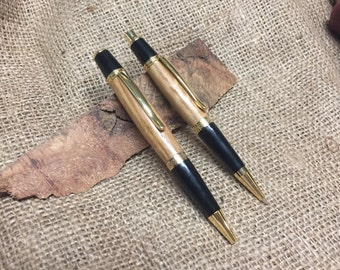 Bourbon Barrel Oak Pen and Pencil Set with Gold or Chrome hardware and gift box - made from your choice of bourbon barrel
