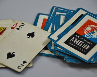 eb2114 Vintage Playing Cards New York WORLDS FAIR 1964-1965........52 Card Deck...NO Jokers.