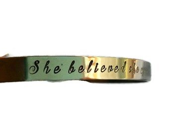 She believed she could so she did mantra bracelet, mantra cuff, quote cuff, saying cuff, quote bracelet, saying bracelet, stainless steel